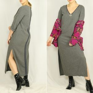 Gray wooly maxi dress w slits & navy outli…